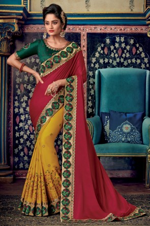 Elegant Embroidery And Zari Work Designer Art Silk Red And Yellow Saree And Blouse