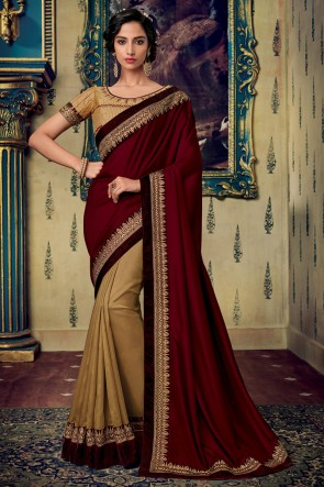 Maroon And Golden Art Silk Fabric Embroidery And Zari Work Designer Saree And Blouse