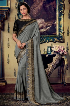 Party Wear Grey Embroidery And Zari Work Art Silk Fabric Designer Saree And Blouse