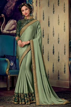 Pista Embroidered And Zari Work Art Silk Fabric Saree And Blouse