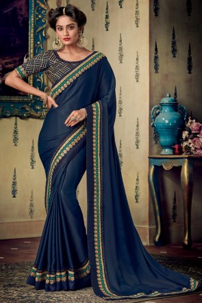 Navy Blue Zari And Embroidery Work Designer Art Silk Fabric Saree And Blouse