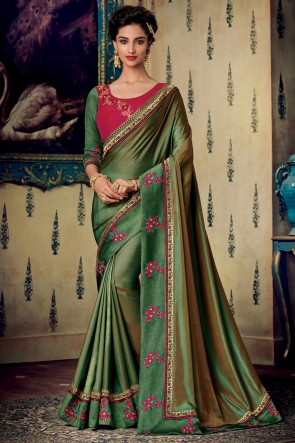Olive Art Silk Fabric Designer Zari And Embroidery Work Saree And Blouse