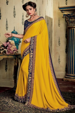 Art Silk Fabric Yellow Zari Work And Embroidered Designer Saree And Blouse