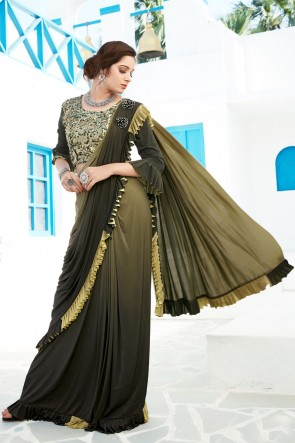 Excellent Mehendi Green Sequins And Thread Work Lycra Flare Designer Saree And Blouse