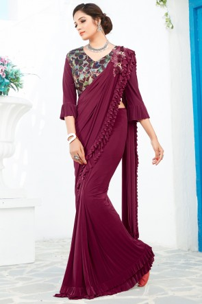 Party Wear Magenta Lycra Fabric Thread And Sequins Work Designer Flare Saree And Blouse