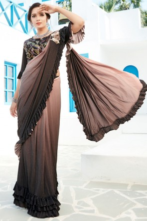 Thread Work And Sequins Work Brown Lycra Fabric Flare Designer Saree And Blouse