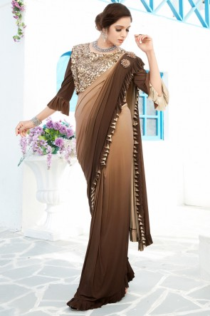 Heavy Designer Coffee Lycra Fabric Thread And Sequins Work Flare Saree And Blouse