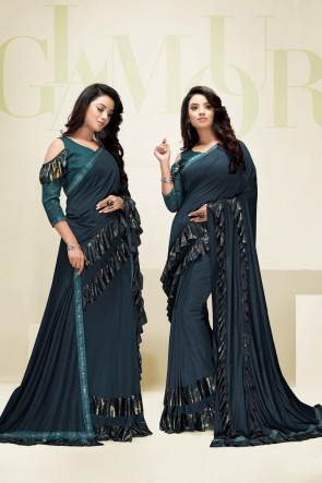 Teal Imported Fabric Designer Flare Saree And Blouse