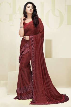 Heavy Flare Designer Maroon Imported Fabric Gorgeous Saree And Blouse