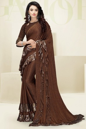 Brown Imported Fabric Designer Flare Work Saree And Blouse