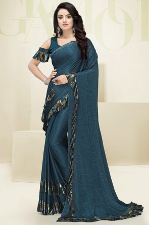 Fascinating Teal Flare Work Designer Imported Fabric Saree And Blouse