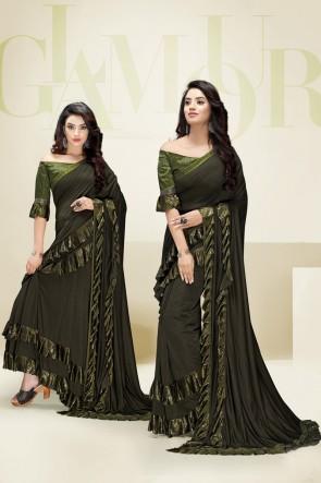 Imported Fabric Flare Designer Mehendi Green Stylish Saree And Blouse