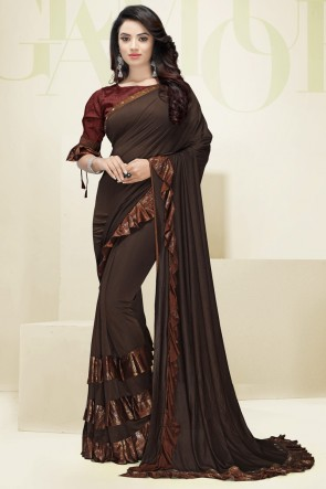 Designer Flare Work Imported Fabric Coffee Saree And Blouse