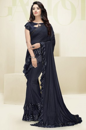 Flare Work Designer Imported Fabric Navy Blue Beautiful Saree And Blouse