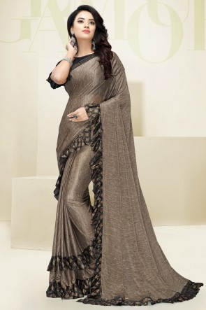 Flare Designer Beige Imported Fabric Excellent Saree And Blouse