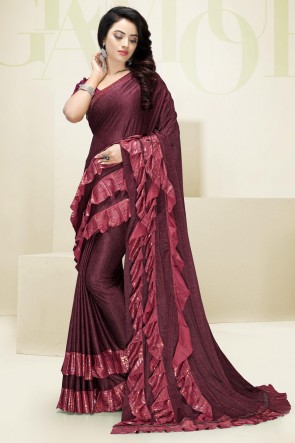Maroon Flare Work Designer Imported Fabric Saree And Blouse