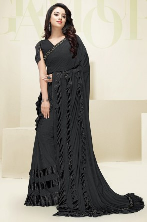 Black Imported Fabric Flare Work Designer Lovely Saree And Blouse
