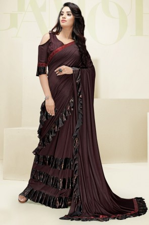 Party Wear Flare Designer Coffee Imported Fabric Saree And Blouse