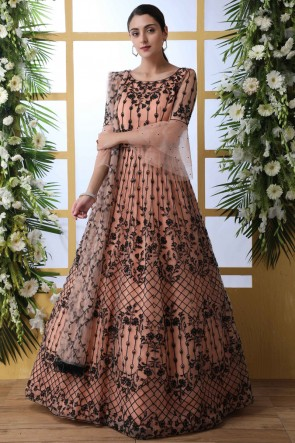 Stone Work And Embroidered Peach Net Fabric Abaya Style Anarkali Suit And Santoon Bottom