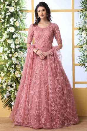 Party Wear Net Fabric Pink Stone And Thread Work Abaya Style Anarkali Suit With Net Dupatta