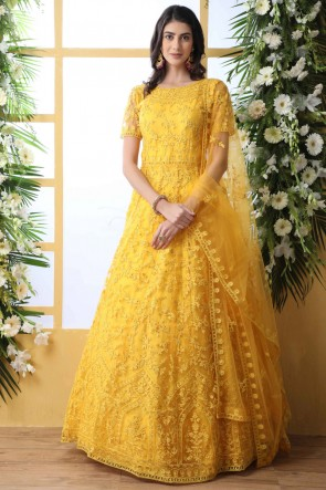 Thread And Stone Work Net Fabric Yellow Abaya Style Anarkali Suit With Net Dupatta