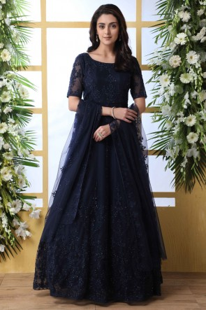 Embroidery And Thread Work Navy Blue Net Fabric Abaya Style Anarkali Suit With Net Dupatta