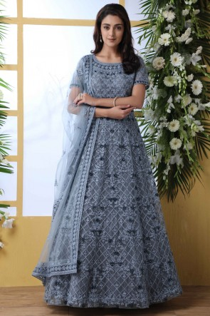 Grey Net Fabric Embroidery And Stone Work Abaya Style Anarkali Suit With Net Dupatta