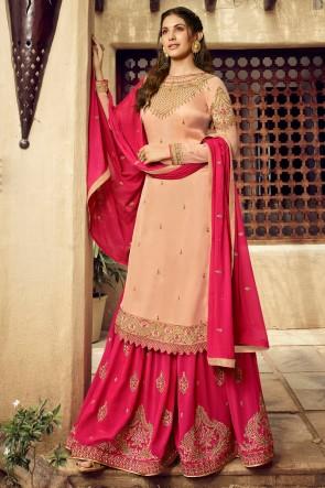 Amyra Dastur Swarovski And Embroidery Cream Georgette Satin Sharara Plazzo Suit With Chiffon Dupatta