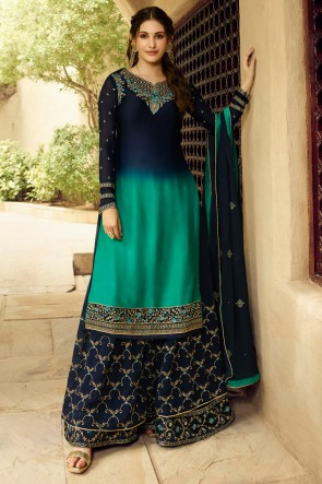 Amyra Dastur Blue And Teal Georgette Satin Stone Work Sharara Plazzo Suit With Chiffon Dupatta