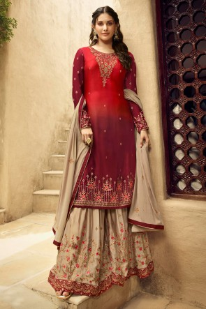 Amyra Dastur Swarovski Work Red And Maroon Georgette Satin Sharara Plazzo Suit With Chiffon Dupatta