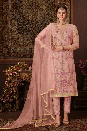 Light Pink Embroidery And Stone Work Designer Net Fabric Salwar Suit And Dupatta