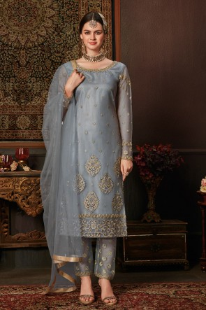 Grey Net Designer Embroidered And Stone Work Salwar Suit And Dupatta