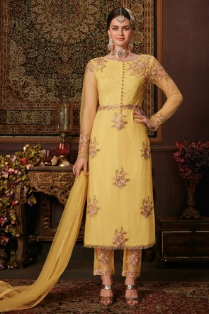 Yellow Net Fabric Designer Zari Work And Embroidered Salwar Suit And Dupatta