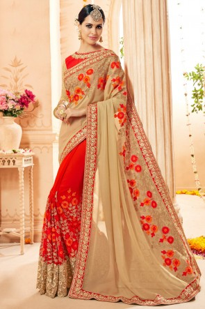 Faux Georgette And Net Fabric Beige And Red Embroidery And Thread Work Saree And Blouse