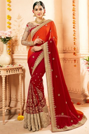 Red Embroidery And Thread Work Faux Georgette And Net Fabric Saree And Blouse