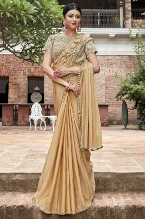 Golden Border And Lace Work Designer Chinon Chiffon0 Fabric Saree With Beads Work Blouse
