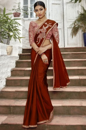 Maroon Chinon Chiffon Fabric Lace And Border Work Saree With Embroidery Beads Work Blouse