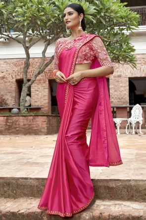 Chinon Chiffon Fabric Pink Border And Lace Work Saree With Embroidery Beads Work Blouse