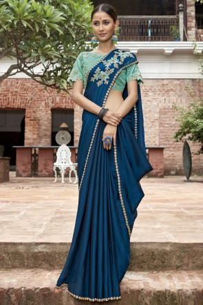 Blue Lace And Border Work Designer Chinon Chiffon Fabric Saree With Embroidered Blouse