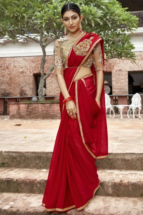 Lace And Border Work Designer Red Chinon Chiffon Saree With Embroidered Blouse