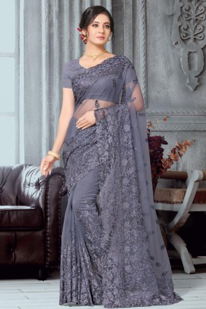 Fascinating Grey Embroidered Net Fabric Designer Saree With Banglori Silk Blouse