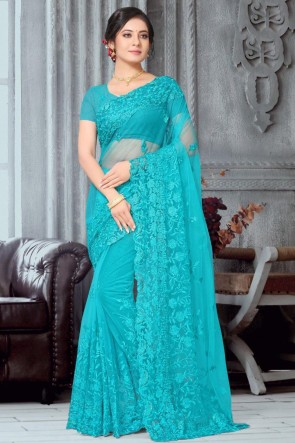 Sky Blue Embroidery Work Net Fabric Designer Saree With Banglori Silk Blouse