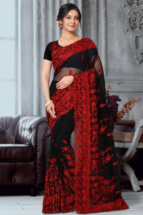Black Net Fabric Embroidery Work Designer Saree With Banglori Silk Blouse