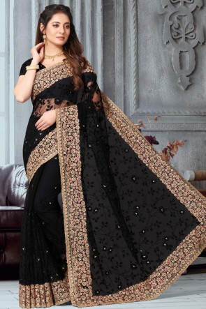 Lovely Net Fabric Embroidered Designer Black Saree With Banglori Silk Blouse