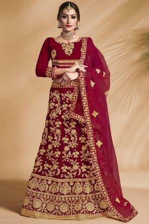 Embroidery And Stone Work Velvet Fabric Red Bridal Lehenga Choli With Net Dupatta