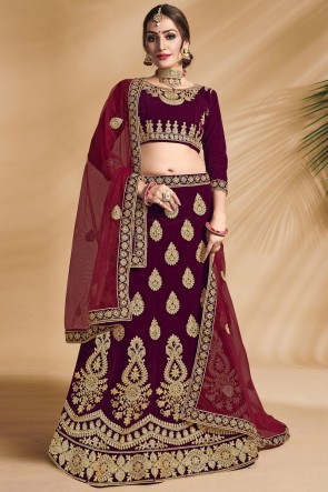 Maroon Velvet Fabric Designer Zari And Stone Work Bridal Lehenga Choli With Net Dupatta