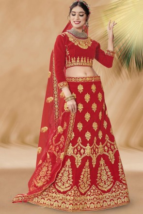 Heavy Designer Red Velvet Fabric Embroidery And Zari Work Bridal Lehenga Choli With Net Dupatta