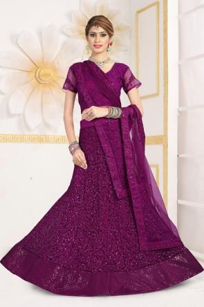 Net Fabric Sequins Work And Zari Work Designer Violet Lehenga Choli With Net Dupatta