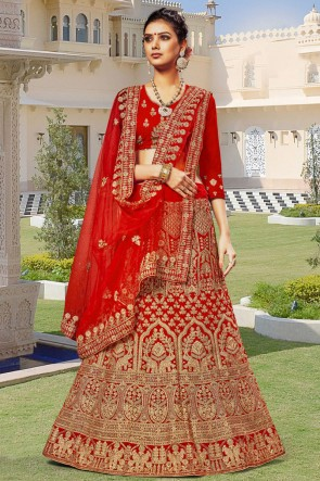 Red Velvet Fabric Embroidered And Zari Work Lehenga Choli With Net Dupatta