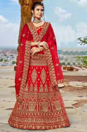 Red Embroidered And Zari Work Velvet Fabric Lehenga Choli With Net Dupatta
